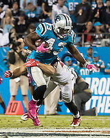Charlotte, NC - October 10, 2016: The Carolina Panthers play the Tampa Bay Buccaneers at Bank of America Stadium.