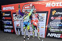 MX1(L-R) 2nd - Kirk Gibbs ; 1st - Matt Moss and 3rd - Dean Ferris<br /> 2016 MX Nationals / Round 1 / MX1<br /> Australian Motocross Championships<br /> Horsham VIC Sunday 3 April 2016<br /> © Sport the library / Jeff Crow