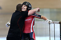 Olivia Podmore celebrates with her coach Hamish Ferguson after finishing the Women Elite sprint final during the 2020 Vantage Elite and U19 Track Cycling National Championships at the Avantidrome in Cambridge, New Zealand on Friday, 24 January 2020. ( Mandatory Photo Credit: Dianne Manson )