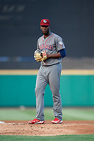 Lehigh Valley IronPigs starting pitcher Enyel De Los Santos (21) gets ready to deliver a pitch during a game against the Rochester Red Wings on June 30, 2018 at Frontier Field in Rochester, New York.  Lehigh Valley defeated Rochester 6-2.  (Mike Janes/Four Seam Images)