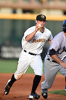 Bradenton Marauders shortstop Max Moroff (31) chases down Ryan Goetz (11) in a run down during a game against the Jupiter Hammerheads on June 25, 2014 at McKechnie Field in Bradenton, Florida.  Bradenton defeated Jupiter 11-0.  (Mike Janes/Four Seam Images)