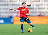 ORLANDO, FL - MARCH 05: Andrea Pereira #20 of Spain passes the ball during a game between Spain and Japan at Exploria Stadium on March 05, 2020 in Orlando, Florida.