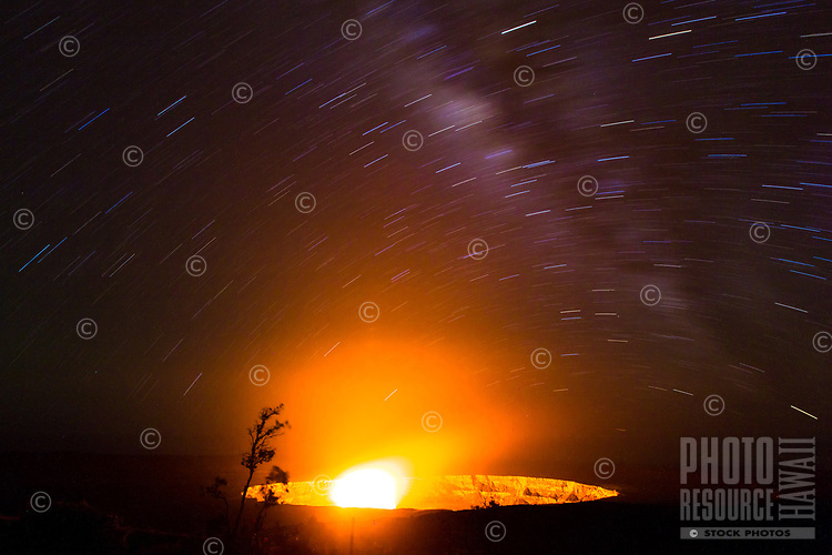 A long exposure image of Halema'uma'u Crater taken near Jagger Museum under a starry night sky, Big Island of Hawai'i, June 2017.