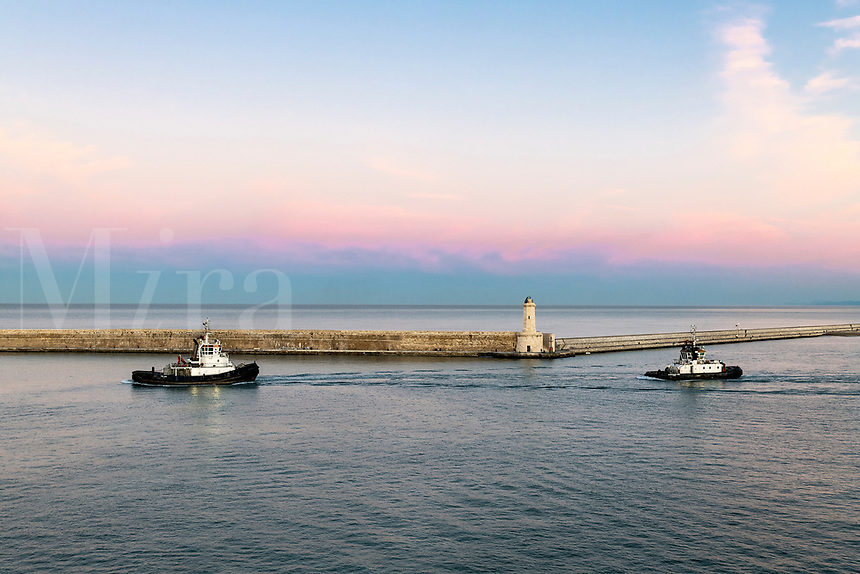 Lighthouse and sea wall, Livorno, Tuscany, Italy.