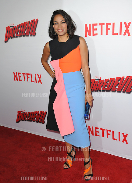 """Rosario Dawson at the premiere of her Netflix series """"Marvel's Daredevil"""" at the Regal Cinemas LA Live.<br /> April 2, 2015  Los Angeles, CA<br /> Picture: Paul Smith / Featureflash"""