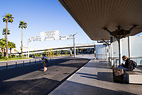 LISBON, PORTUGAL - June 7: Tourists are seen waiting for transportation outside the Airport in Lisbon, on June 7, 2021. <br /> Tourists anticipated trips from Lisbon to the U.K. They decided to return early so they wouldn't have to quarantine. since the new rules were announced for those traveling from Portugal to the UK. <br /> (Photo by Luis Boza/VIEWpress)