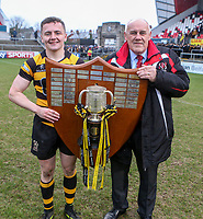 Friday 17th March 2017 | ULSTER SCHOOLS CUP FINAL<br /> <br /> Michael Lowry with Ulster Branch President John McKibbin  after the Ulster Schools Cup Final between RBAI and MCB at Kingspan Stadium, Ravenhill Park, Belfast, Northern Ireland.<br /> <br /> Photograph by John Dickson | www.dicksondigital.com