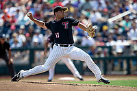 Texas Tech Red Raiders pitcher John McMillon (17) delivers a pitch to the plate during Game 1 of the NCAA College World Series against the Michigan Wolverines on June 15, 2019 at TD Ameritrade Park in Omaha, Nebraska. Michigan defeated Texas Tech 5-3. (Andrew Woolley/Four Seam Images)