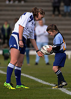 Pearl Marshall delivers the ball to referee Aimee Barrett-Theron before the 2017 International Women's Rugby Series rugby match between Canada and Australia Wallaroos at Smallbone Park in Rotorua, New Zealand on Saturday, 17 June 2017. Photo: Dave Lintott / lintottphoto.co.nz