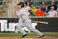 Zach Gentile #7 of the Greenville Drive follows through on his swing against the Kannapolis Intimidators at Fieldcrest Cannon Stadium June 3, 2010, in Kannapolis, North Carolina.  Photo by Brian Westerholt / Four Seam Images