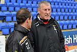 St Johnstone v Inverness Caley Thistle....07.04.12   SPL.Terry Butcher talks with his old Rangers team mate Alec Clelland.Picture by Graeme Hart..Copyright Perthshire Picture Agency.Tel: 01738 623350  Mobile: 07990 594431