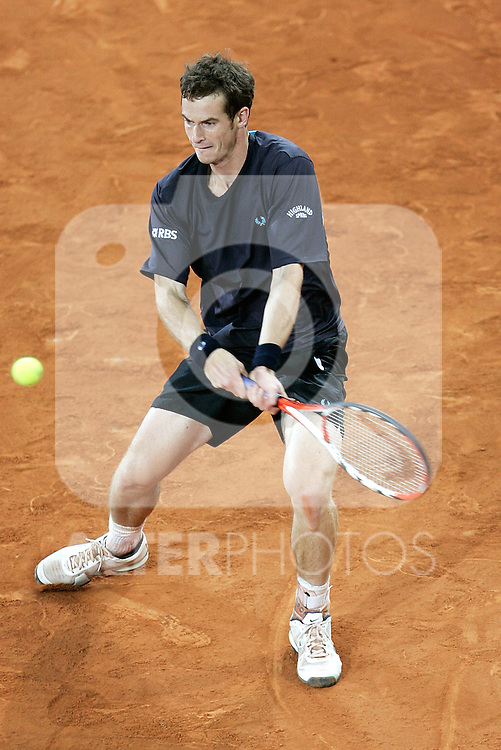 Great Britain's Andy Murray during his Madrid Open quarter final match. May 15, 2009. (ALTERPHOTOS/Alvaro Hernandez)