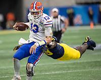 Atlanta, Georgia - December 29, 2018: Mercedes Benz Stadium, the number 10 ranked Florida Gators play the number 7 ranked Michigan Wolverines in the Peach Bowl.