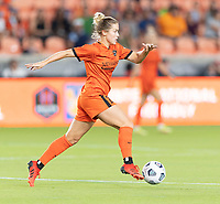 HOUSTON, TX - SEPTEMBER 10: Abby Dahlkemper #23 of the Houston Dash brings the ball up the field during a game between Chicago Red Stars and Houston Dash at BBVA Stadium on September 10, 2021 in Houston, Texas.