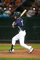 Vermont Lake Monsters outfielder Skye Bolt (7) at bat during a game against the Hudson Valley Renegades on September 3, 2015 at Centennial Field in Burlington, Vermont.  Vermont defeated Hudson Valley 4-1.  (Mike Janes/Four Seam Images)
