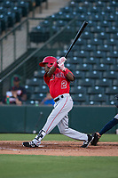 AZL Angels designated hitter Drevian Williams-Nelson (2) follows through on his swing during an Arizona League game against the AZL Indians 2 at Tempe Diablo Stadium on June 30, 2018 in Tempe, Arizona. The AZL Indians 2 defeated the AZL Angels by a score of 13-8. (Zachary Lucy/Four Seam Images)