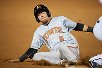 Bowie Baysox second baseman Erick Salcedo (9) slides into third base during a game against the Harrisburg Senators on May 16, 2017 at FNB Field in Harrisburg, Pennsylvania.  Bowie defeated Harrisburg 6-4.  (Mike Janes/Four Seam Images)