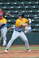 Alex Destino (23) of Los Rapidos de Kannapolis at bat during a game against Las Llamas de Hickory at L.P. Frans Stadium on July 17, 2019 in Hickory, North Carolina. The Llamas defeated the Rapidos 7-5. (Tracy Proffitt/Four Seam Images)