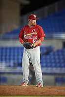 Palm Beach Cardinals relief pitcher Kyle Grana (54) gets ready to deliver a pitch during a game against the Dunedin Blue Jays on April 15, 2016 at Florida Auto Exchange Stadium in Dunedin, Florida.  Dunedin defeated Palm Beach 8-7.  (Mike Janes/Four Seam Images)