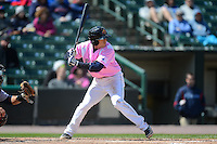 Rochester Red Wings shortstop Doug Bernier #7 during a game against the Columbus Clippers on May 12, 2013 at Frontier Field in Rochester, New York.  Rochester defeated Columbus 5-4 wearing special pink jerseys for Mother's Day.  (Mike Janes/Four Seam Images)