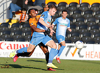 Matthew Platt (R) of Barrow wins the ball from Josh Walker during Barnet vs Barrow, Buildbase FA Trophy Football at the Hive Stadium on 8th February 2020
