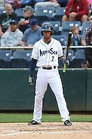 Luis Liberato (2) of the Everett AquaSox bats during a game against the Spokane Indians at Everett Memorial Stadium on July 24, 2015 in Everett, Washington. Everett defeated Spokane, 8-6. (Larry Goren/Four Seam Images)