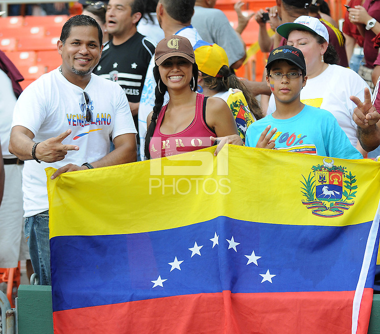 Fans from Venezuela supporting the team.  El Salvador National Team defeated Venezuela 3-2 in an international friendly at RFK Stadium, Sunday August 7, 2011.