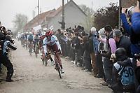 Marco Haller (AUT/Katusha Alpecin) cornering<br /> <br /> 117th Paris-Roubaix (1.UWT)<br /> 1 Day Race: Compiègne-Roubaix (257km)<br /> <br /> ©kramon