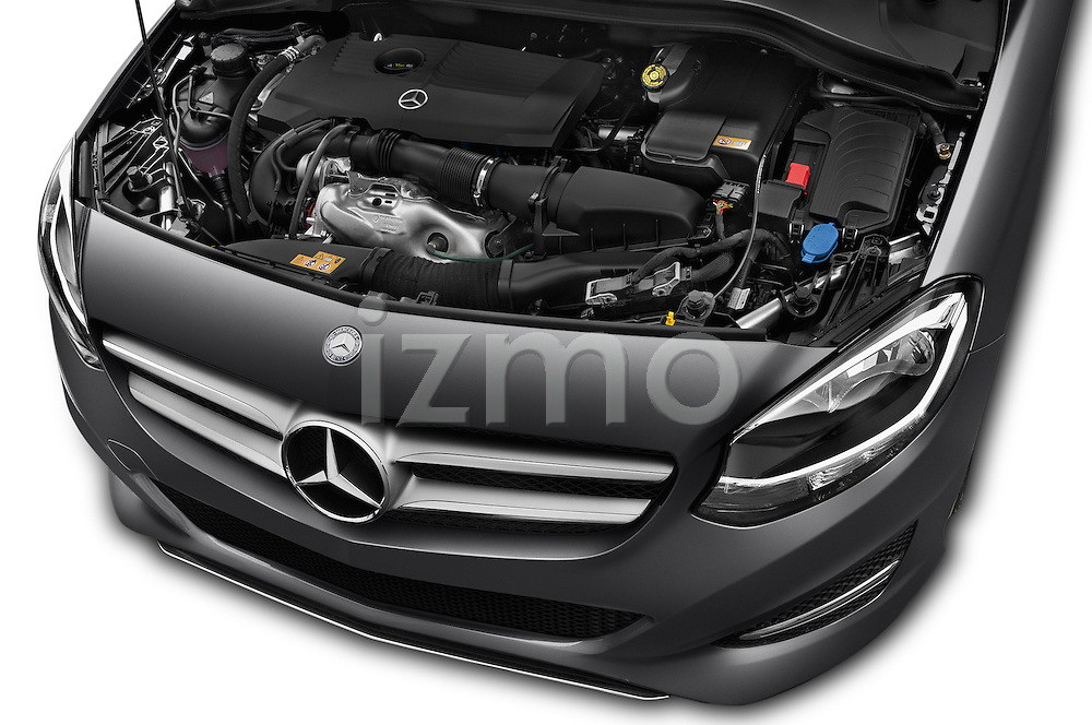 Car Stock 2016 Mercedes Benz B-Class Inspiration 5 Door Mini MPV Engine  high angle detail view