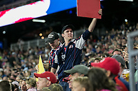 Foxborough, Massachusetts - June 2, 2018:  The New England Revolution (blue/white) beat the New York Red Bulls (white) 2-1 in a Major League Soccer (MLS) match at Gillette Stadium.