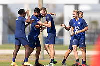 BRADENTON, FL - JANUARY 23: Henry Kessler, Mauricio Pineda, George Bello, Djordje Mihailovic celebrates win during a training session at IMG Academy on January 23, 2021 in Bradenton, Florida.