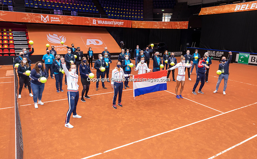 Den Bosch, The Netherlands, April 17, 2021,    Maaspoort, Billie Jean King Cup  Netherlands -  China , seccond day <br /> Photo: Tennisimages/Henk Koster