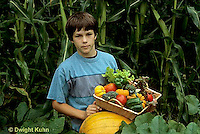 HS18-092z  Boy harvesting vegetables -  tomato, cucumber, carrot, squash, broccoli, lettuce, pumpkin