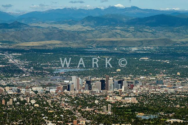 Denver with Rocky Mountain backdrop. Aug 21, 2014.  812961