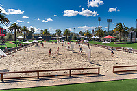 STANFORD, CA - MARCH 07: Stanford Beach Volleyball Stadium during a game between UC Davis and Stanford Beach Volleyball at Stanford Beach Volleyball Stadium on March 07, 2021 in Stanford, California.