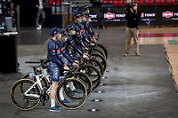 team presentation inside the empty Spirou Basketbal Dome in Charleroi<br /> <br /> 85th La Flèche Wallonne 2021 (1.UWT)<br /> 1 day race from Charleroi to the Mur de Huy (BEL): 194km<br /> <br /> ©kramon