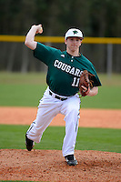Chicago State University Cougars infielder/pitcher Andrew Wellwerts #11 during a game against the Muskingum Fighting Muskies at South County Regional Park on March 3, 2013 in Punta Gorda, Florida.  (Mike Janes/Four Seam Images)