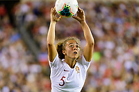 PHILADELPHIA, PA - AUGUST 29: Matilde Fidalgo #5 of Portugal on a throw in during a game between Portugal and USWNT at Lincoln Financial Field on August 29, 2019 in Philadelphia, PA.