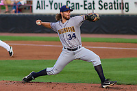 Burlington Bees pitcher Denny Brady (34) delivers a pitch during a Midwest League game against the Wisconsin Timber Rattlers on August 3, 2018 at Fox Cities Stadium in Appleton, Wisconsin. Wisconsin defeated Burlington 5-4. (Brad Krause/Four Seam Images)