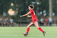 NEWTON, MA - AUGUST 29: Shannon Keefe #20 of Boston University dribbles at midfield during a game between Boston University and Boston College at Newton Campus Field on August 29, 2019 in Newton, Massachusetts.