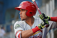 Johnson City Cardinals first baseman Dariel Gomez (25) on deck during the first game of a doubleheader against the Princeton Rays on August 17, 2018 at Hunnicutt Field in Princeton, Virginia.  Johnson City defeated Princeton 6-4.  (Mike Janes/Four Seam Images)