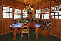 Stock photo of dining nook in rustic ranch house.