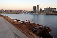 Properties along artificial river band in Kangbashi district of the Chinese city of Ordos, Inner Mongolia. 12-May-2011