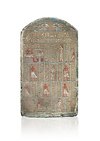 Ancient Egyptian stele of commander in chief Senebetysy, sandstone, Middle Kingdom, 13th Dynasty, (11759-1700 BC), Deir el-Medina, Old Fund cat 1629. Egyptian Museum, Turin. white background, <br /> <br /> Stet for the commander in chief of the city regiment of Sarenenutrt, son of Sainyt and his wife Senebtysy.