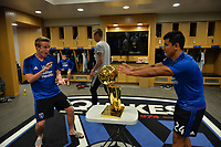 San Jose, CA - Monday July 10, 2017: Jackson Yueill, NBA Trophy, Nick Lima prior to a U.S. Open Cup quarterfinal match between the San Jose Earthquakes and the Los Angeles Galaxy at Avaya Stadium.