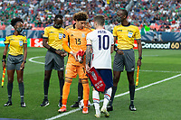 DENVER, CO - JUNE 6: Christian Pulisic #10 of the United States wins the coin toss during a game between Mexico and USMNT at Mile High on June 6, 2021 in Denver, Colorado.