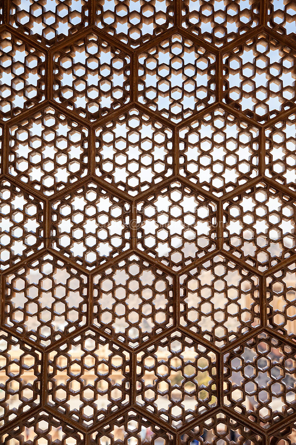 Jaipur, Rajasthan, India.  Hexagons and Six-pointed Stars in Window laticework, Amber (or Amer) Palace, near Jaipur.