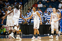 NORFOLK, VA--Amber Orrange celebrates a three pointer during first round play against Hampton University at the Ted Constant Convocation Center at Old Dominion University in Norfolk, VA in the 2012 NCAA Championships. The Cardinal advanced with a 73-51 win to play West Virginia on Monday, March 19.