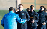 St Johnstone Training…28.12.18    McDiarmid Park<br />Liam Craig, Liam Gordon and Tony Watt listen to manager Tommy Wright for instructions in a sprint race ahead of tomorrow's game at Dundee.<br />Picture by Graeme Hart.<br />Copyright Perthshire Picture Agency<br />Tel: 01738 623350  Mobile: 07990 594431