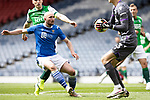St Johnstone v Hibs…22.05.21  Scottish Cup Final Hampden Park<br />Chris Kane loses out to Matt Macey<br />Picture by Graeme Hart.<br />Copyright Perthshire Picture Agency<br />Tel: 01738 623350  Mobile: 07990 594431